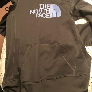 Grey and light purple north face hoodie